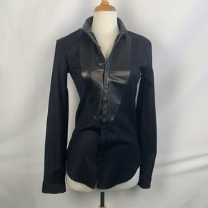 Juun J Black Leather Trim Tuxedo Shirt